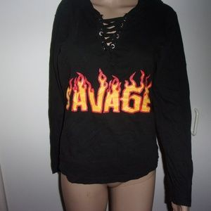 On Fire Tops - womens black hooded long sleeve savage t shirt top